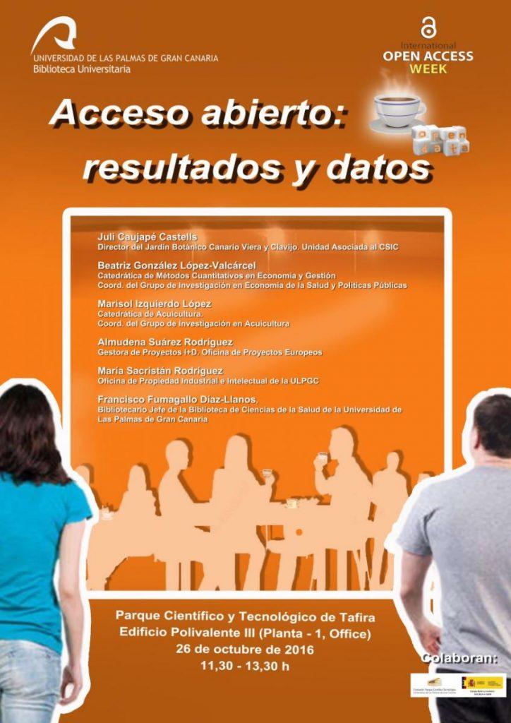 Cartel 'Acceso abierto: resultados y datos', en la Semana Internacional del Acceso abierto 2016