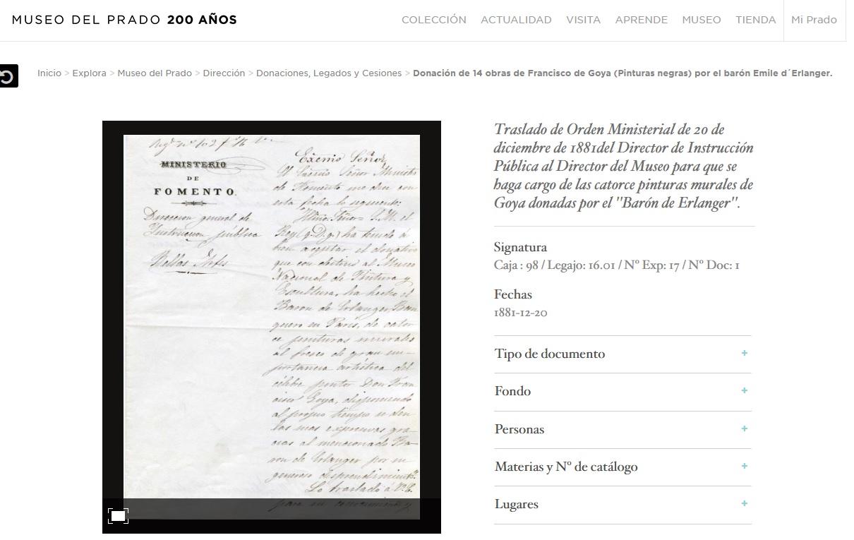 Traslado de Orden Ministerial de las catorce pinturas murales de Goya